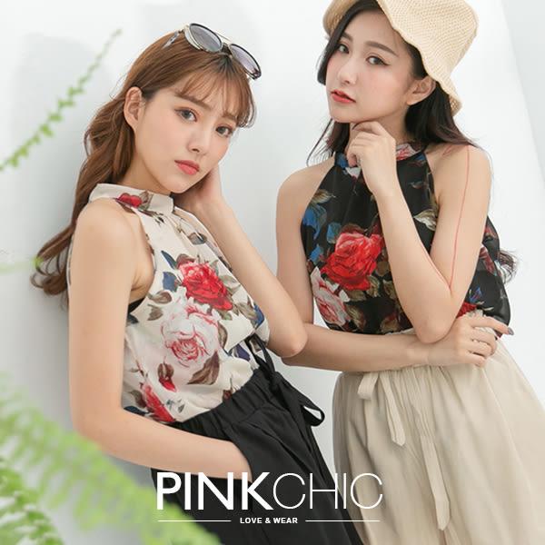上衣 花朵削肩雪紡背心無袖上衣 - PINK CHIC - 138853