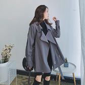 聖誕感恩季 春秋2018新款韓版收腰系帶小個子學生寬鬆百搭短款灰色風衣外套女