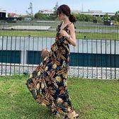 梨卡 - 超仙複收腰V領性感露背連衣長裙度假風沙灘荷葉邊裙C6442