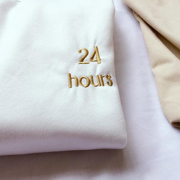現貨+快速★寬鬆刺繡白色中長版加厚加絨高領大學T 上衣【LF64014】★ifairies【64014】