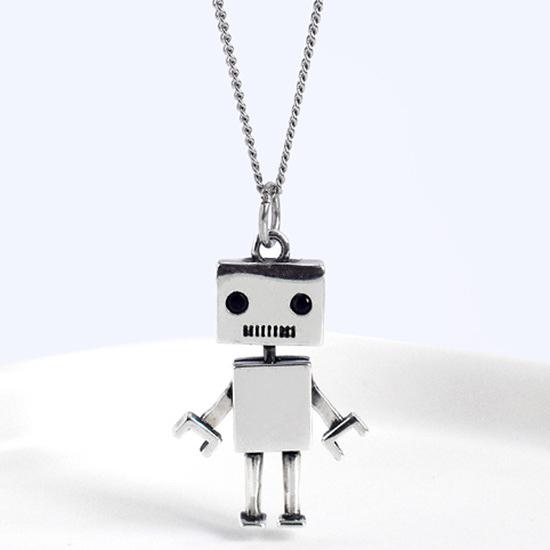 《 QBOX 》FASHION 飾品【CA10】精緻秀氣復古機器人S925純銀項鍊/吊墜