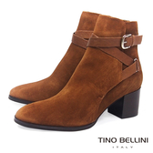 Tino Bellini 溫潤知性皮革線條中跟短靴_ 棕  A69033 歐洲進口款