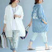 胖mm夏季新款大尺碼女裝百搭長袖波點超薄棉印花連帽防曬襯衣外套潮