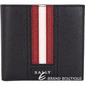 BALLY TRASAI 經典紅白條紋黑色八卡對折短夾 1820592-01