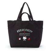 小禮堂 Hello Kitty 船形帆布側背袋 折疊帆布袋 帆布手提袋 帆布托特包 (黑 logo) 4550337-57713