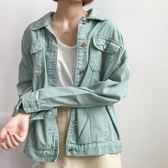 (N-5223)寬鬆牛仔外套學生休閒長袖夾克開衫短外套