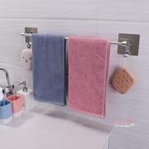 毛巾架 雙慶衛生間免打孔毛巾架浴室單桿毛巾桿掛毛巾架廁所置物架浴巾架T
