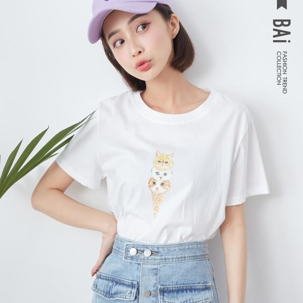 T恤 三球貓咪冰淇淋膠印圖案圓領上衣-BAi白媽媽【301121】