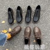 小皮鞋女韓版百搭冬天學生英倫風復古配裙子軟皮加絨秋季日系單鞋 極客玩家