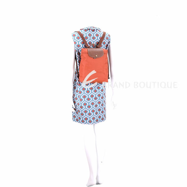 LONGCHAMP Le pliage 尼龍折疊後背包(橘色) 1520248-25
