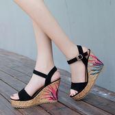 韓版時尚涼鞋防水臺楔型厚底鞋鬆糕露趾羅馬女鞋