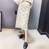 兩面穿針織半身裙秋冬女杏色裙子2019新款中長高腰黑色蕾絲A字裙 喵小姐