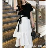 短袖裙裝 夏季輕熟風可鹽可甜炸街半身洋裝套裝小個子搭配顯高溫柔兩件套 開春特惠
