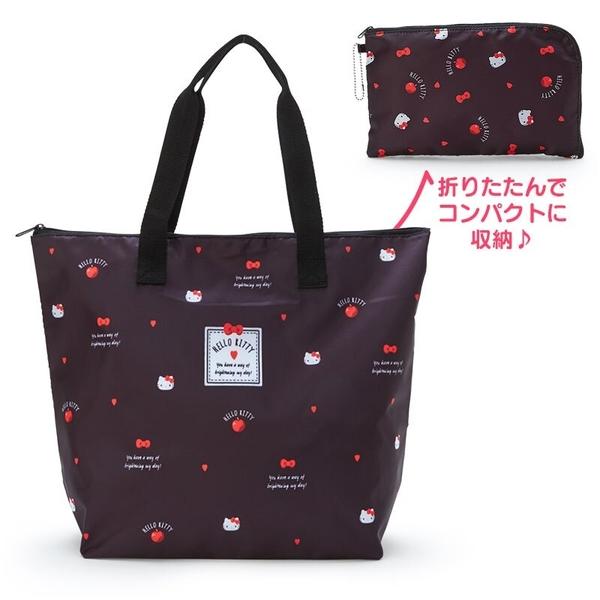 小禮堂 Hello Kitty 折疊尼龍環保購物袋 保冷環保袋 折疊環保袋 野餐袋 (黑 愛心?) 4550337-55183