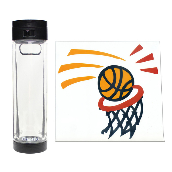 Glasstic │ 安全防護玻璃水瓶 經典小LO款(黑_籃球圖卡) 470ml