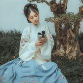 流年惜雨花團扇交領襖裙琵琶袖子中國傳統風刺繡漢服【時尚大衣櫥】