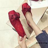 韓版方頭平底鞋大碼軟底豆豆鞋百搭單鞋婚鞋【時尚大衣櫥】