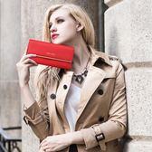 新款女士錢包女長款手拿包歐美牛皮大容量三折錢夾皮夾  范思蓮恩
