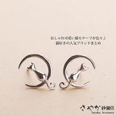 【Sayaka紗彌佳】925純銀弦月上的貓咪耳環