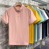冰絲棉粉色polo男短袖夏季男士修身薄款上衣潮流翻領衫半袖T恤男 果果輕時尚