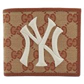 GUCCI 古馳 洋基隊聯名款緹花帆布二折短夾 New York Yankees Patch Wallet 547787 【二手名牌BRAND OFF】