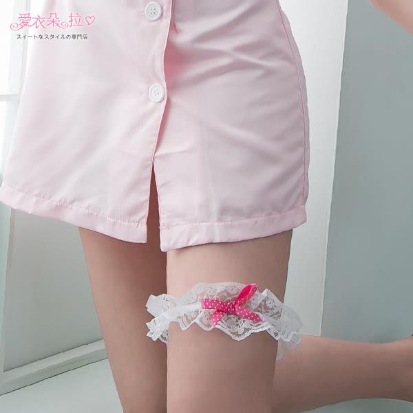 腿套 點點蝴蝶結緞帶 日系蕾絲大腿帶 黑色/白色- 愛衣朵拉