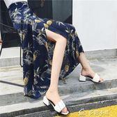 春夏新款系帶防曬碎花雪紡長裙一片式半身裙女中長款高腰裹裙 多色小屋