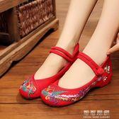 北京老布鞋女圓頭紅色鳳凰花民族風繡花鞋中式婚鞋子 可可鞋櫃