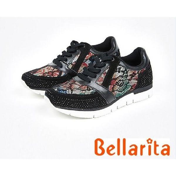 本週下殺★2017秋冬新品★bellarita.運動風-水鑽蕾絲花邊運動鞋(7902-95黑)