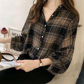 ZUCAS~(XA-6288)寬鬆BF格子襯衫女長袖上衣襯衫