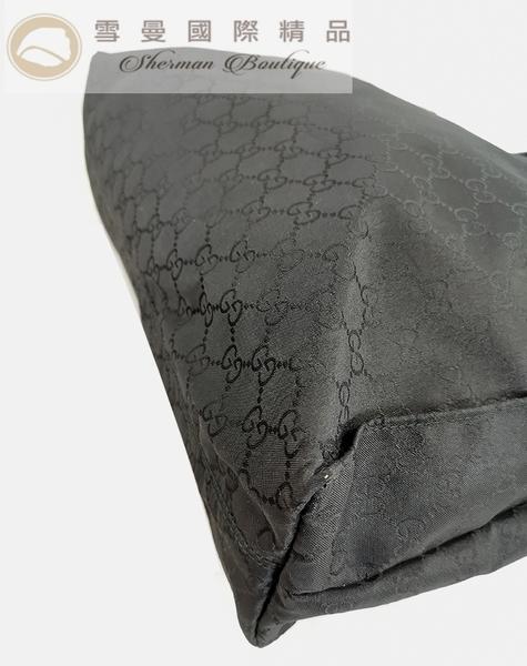 【雪曼國際精品】GUCCI 449178 經典雙G緹花緞面皮飾邊購物包.黑~二手(9成新)