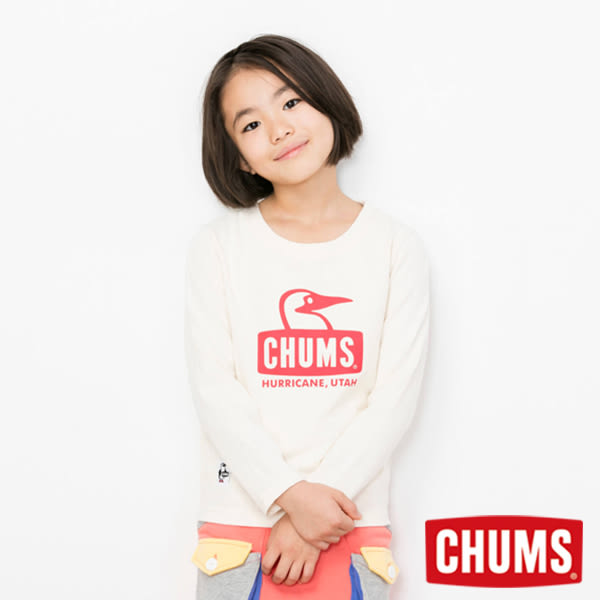 CHUMS 日本 童 Booby 長袖圓領T恤 米色 CH211043W002