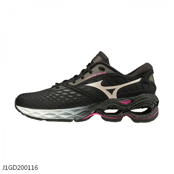 MIZUNO WAVE CREATION 21 女鞋 慢跑 避震 輕量 彈力 耐磨 黑【運動世界】J1GD200116