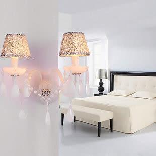 設計師美術精品館壁燈歐式水晶燈現代客廳雙頭壁燈簡約床頭燈田園家居燈具鏡前燈