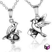 情侶對鍊-Love message 幸福信鴿Carrier Pigeon 925純銀對鍊-64DESIGN