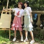時尚套裝女夏裝新款韓版閨蜜裝菠蘿刺繡短袖T恤 格子半身裙兩件套