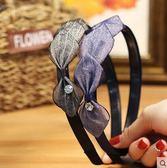 布藝蕾絲頭箍蝴蝶結簡約寬邊水鑽發卡PLL3259【男人與流行】
