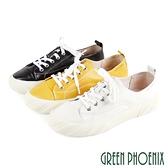 U28-2A201 女款山羊皮休閒鞋 國際精品極簡約綁帶義大利山羊皮平底餅乾鞋【GREEN PHOENIX】