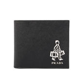 【PRADA】Porter聯名防刮牛皮門僮圖案二折零錢袋短夾(黑色)2MO738 9Z2 F0002