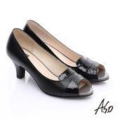 A.S.O 減壓美型 全真皮方塊配色拼接魚口高跟鞋 黑