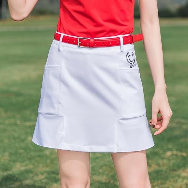 高爾夫裙 夏季新款SSV高爾夫球服裝女款短裙褲修身紅色半裙子舒適顯瘦-Ballet朵朵
