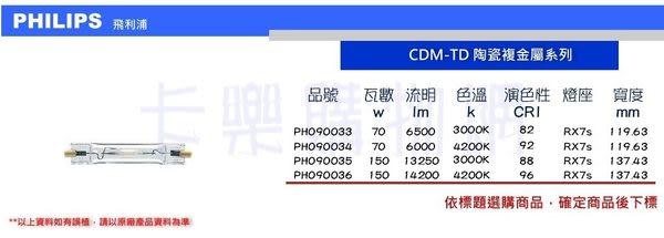 PHILIPS飛利浦 CDM-TD 150W 830 陶瓷複金屬燈  _ PH090035
