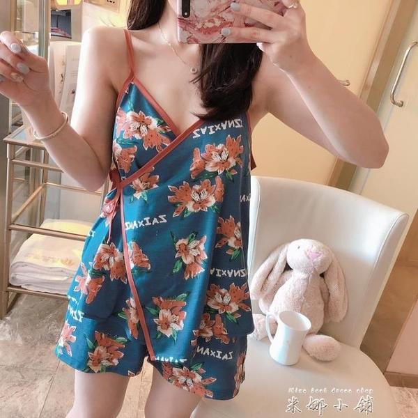 妃瑄依日式和服睡衣女夏季吊帶韓版清新學生薄款性感短袖兩件套裝
