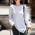 長袖T恤 上衣 打底衫 t恤白色長袖t恤女薄款新款寬松上衣中長款打底衫N619 胖妹