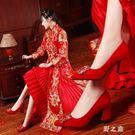 婚鞋 女新款粗跟新娘鞋秀禾尖頭高跟伴娘水鉆絨面女鞋 qz1845【野之旅】