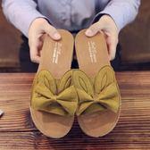 拖鞋/涼鞋  軟底女拖鞋兔耳朵少女萌軟妹甜美平底一字女涼拖外穿