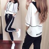 休閑運動套裝裝時尚潮韓版半袖長褲兩件套學生