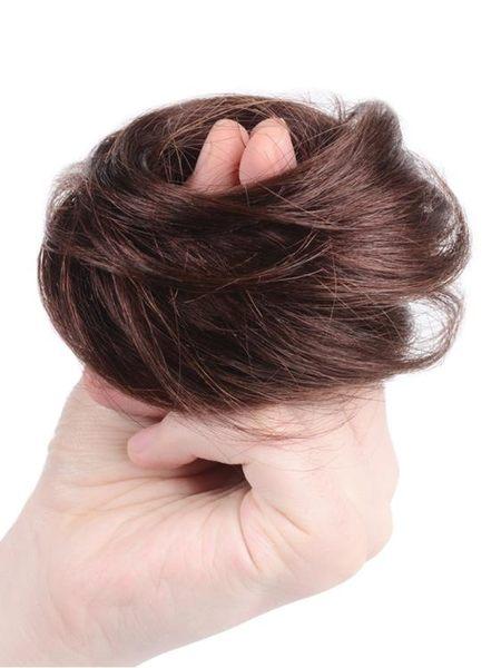 真髮丸子頭盤發器假髮女卷發自然盤發小發包抓夾半丸子發圈花苞頭 任選一件享八折