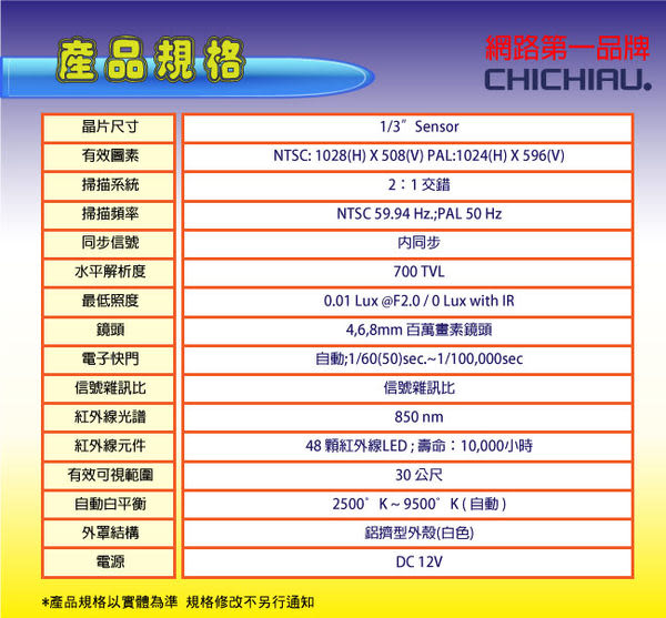 【CHICHIAU】48燈 700TVL高解析960H OSD紅外線夜視攝影機