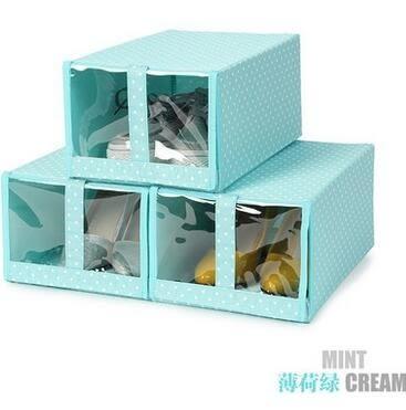 天縱布藝視窗透明鞋盒3個裝可水洗鞋子收納盒抽屜式整理箱組合櫃